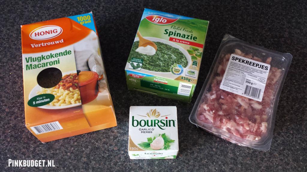 Ingredienten voor Macaroni Boursin spekjes