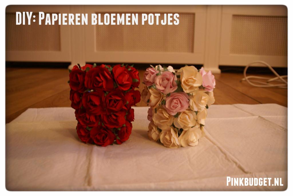 Papieren bloemen potjes
